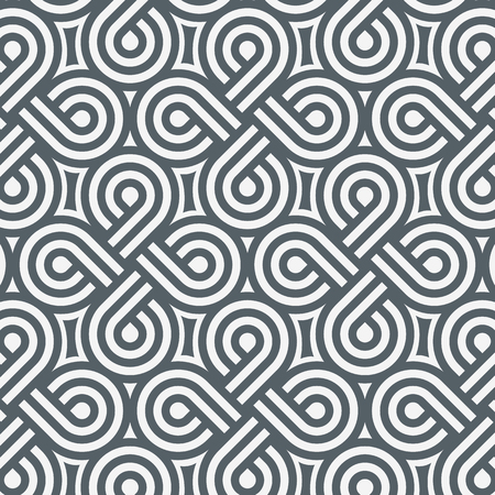 Geometric vector pattern, repeating stripe line coils on circle shape as cross and abstract star. clean design for wallpaper, fabric, paint. Pattern is on swathes panel.