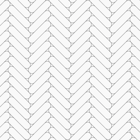 Herringbone pattern. Rectangles rounded corner slabs tessellation. Seamless surface design with white slant blocks tiling. Floor cladding bricks. Repeated tiles ornament background. Mosaic motif. Pave