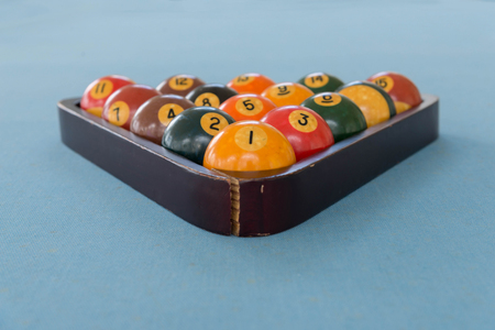 pool billiards snooker balls on green table with locked in wooden cage
