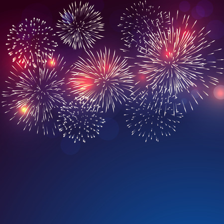 brightly colorful fireworks with pale smoke from fire on twilight background