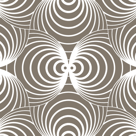 geometric pattern vector. Vector repeating tile texture. Overlapping circles funky theme or abstract spiral shell . pattern is on swatches panel  イラスト・ベクター素材