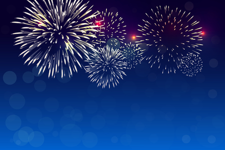 Colorful firework vector with bokeh and white pale smock on twilight background for celebration event, Christmas eve, new year, 4th of July 일러스트