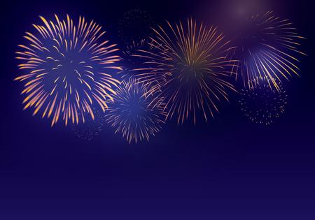 Fuegos artificiales de colores brillantes sobre fondo crepuscular