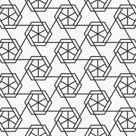 Vector linear pattern. Repeating geometric triangular grid on hexagon shape. pattern is on swatch panel