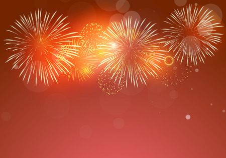 colorful fireworks vector on dark red background with sparking Vectores
