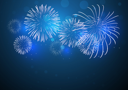 colorful fireworks vector, sparkling in dark blue sky, fireworks for festive events, new year, Christmas