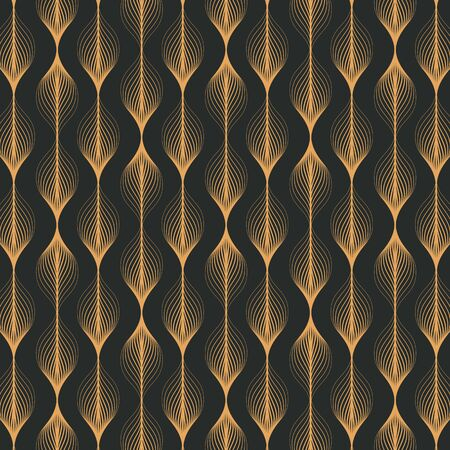 Vector pattern. Abstract stylish background with texture of abstract gold leaves. Stylised holiday garland.