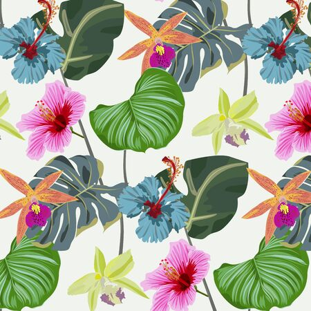 Tropical floral and leaves seamless pattern background with exotic Hibiscus