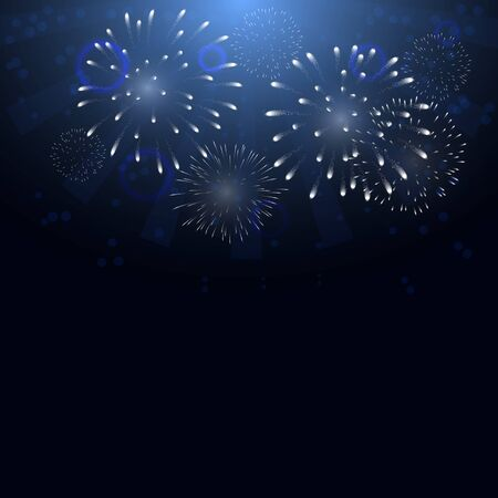 Colorful firework vector pattern on dark background.