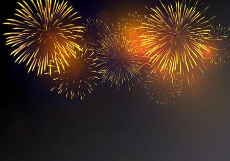 Brightly golden Fireworks on dark background