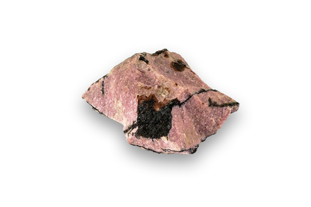 Specimen of rhodonite, isolated on a white background