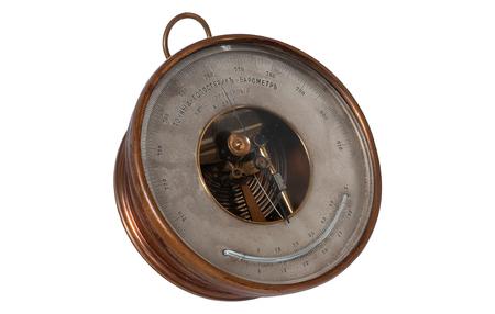 vintage barometer isolated on white background