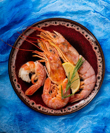 Cooked large shrimp on a bright blue background Archivio Fotografico