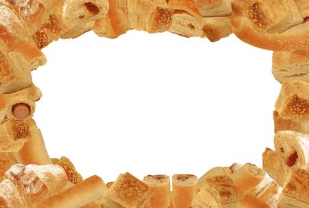 3:2 format landscape frame of different bread and pastry goods without any drop shadows isolated on white photo