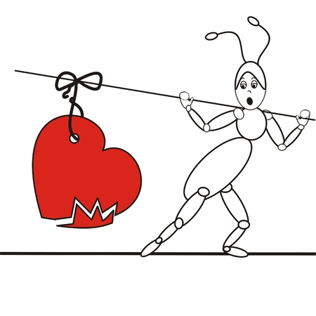 ant with broken heart tied on the stick Vector