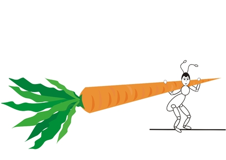 ant with carrot on shoulders Vector