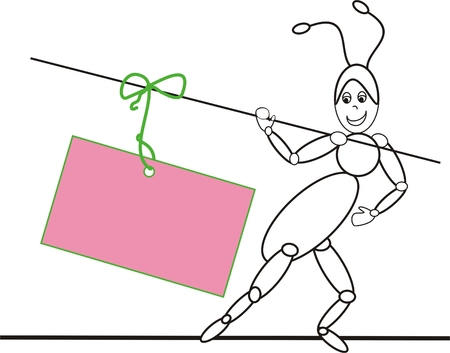 ant with pink note tied on the stick Vector