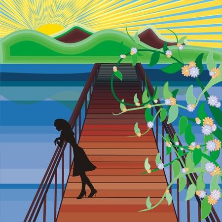 eenzaam meisje op de dock Vector Illustratie