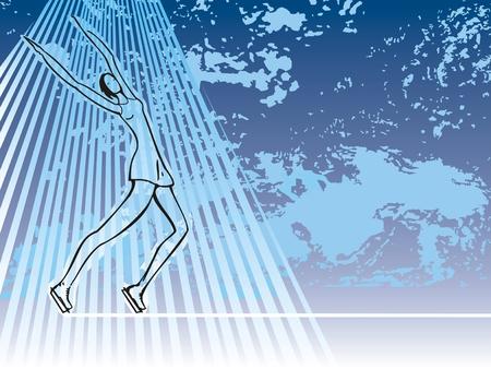 Ice skatig girl on blue grunge illustration with rays Vector