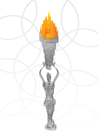 torch light: Abstract statua che detiene la torcia fiammeggiante illustrazione  Vettoriali