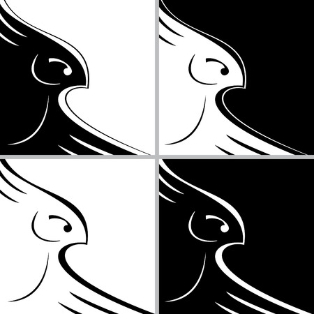 Four variations of stylized bird in black and white illustration Vector