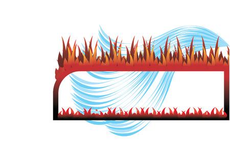 fireside: Frame fire and water illustration Illustration