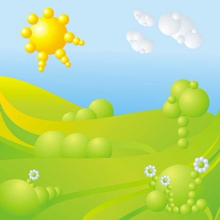 blue sky, green grass, trees, clouds, sun and flowers abstract landscape Vector