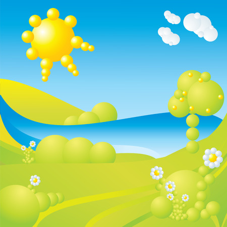 blue sky, green grass, trees, clouds, sun, water and flowers abstract landscape Vector