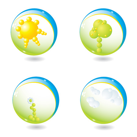 Abstract nature elements in spheres vector illustration Vector