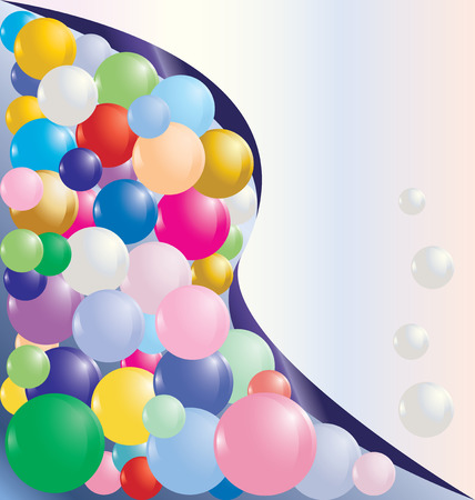 diagonally: diagonally curve splitted card template with colorful bubbles Illustration