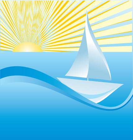 Sailing ship on sea design Illustration