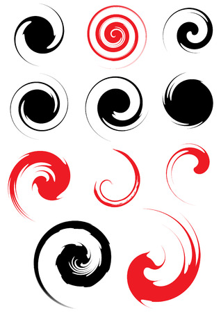 spiral design elements vector set 3 Illustration
