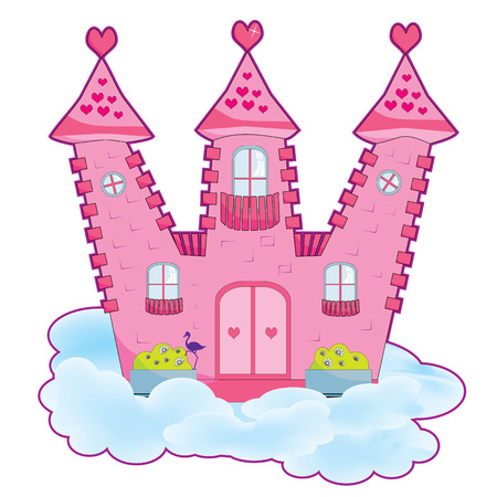 Pink  fairy tale castle in the clouds vector illustration