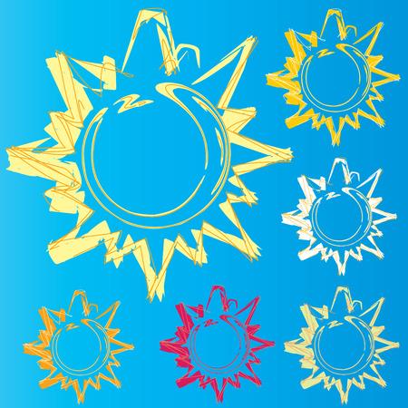 Sun logo set study vector illustration Vector