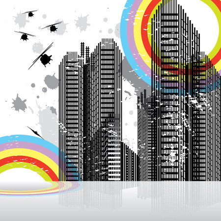 Urban business landscape vector illustration Vector