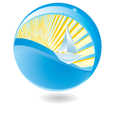 the liquid crystal: Sailing ship in sphere Illustration