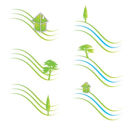 Green logo set vector illustration Vector
