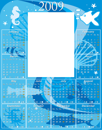 moon phases: 2009 Underwater Calendar with USA moon phases template vector illustration to paste 5 x 7 photo