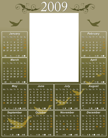 moon phases: 2009 goose Calendar with USA moon phases template vector illustration to paste 5 x 7 photo