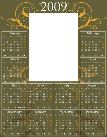 moon phases: 2009 swirl Calendar with USA moon phases template vector illustration to paste 5 x 7 photo