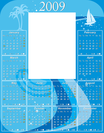 moon phases: 2009 water Calendar with USA moon phases template vector illustration to paste 5 x 7 photo