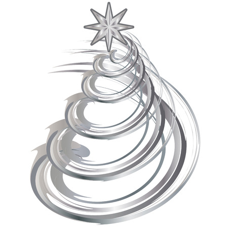 symbolism: Shiny Silver Christmas Contemporary Tree vector illustration Illustration