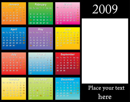 hollidays: 2009 colorfull horizontal Calendar with USA hollidays and place for your photo vector illustration