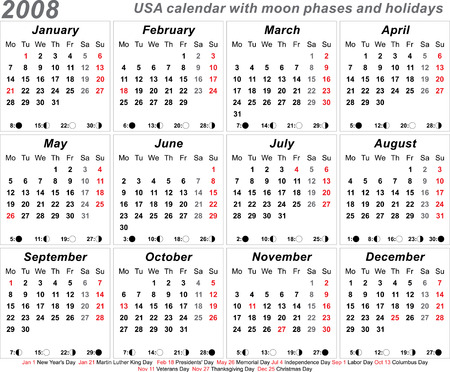 2008 USA Calendar With Moon Phases Template Vector Design