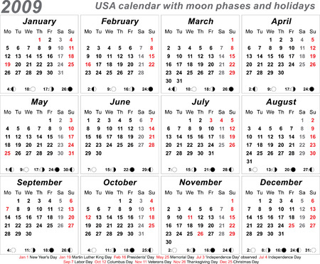 paste: 2009 USA Calendar with moon phases template vector design - easy to paste on any background
