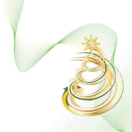 abstract symbolism: Shiny Gold Christmas Contemporary Tree vector illustration