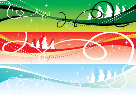 stylization: christmas banners 2 vector illustration Illustration