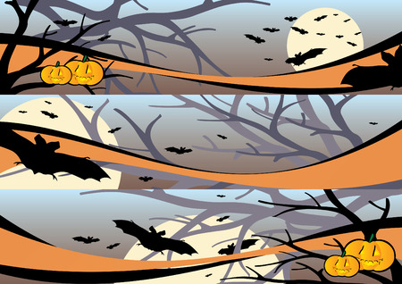 Halloween scene banners 1 vector illustration Vector