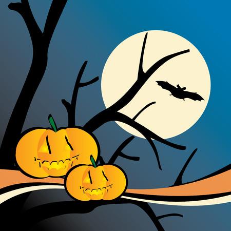 frighten: Halloween scene 1 vector illustration
