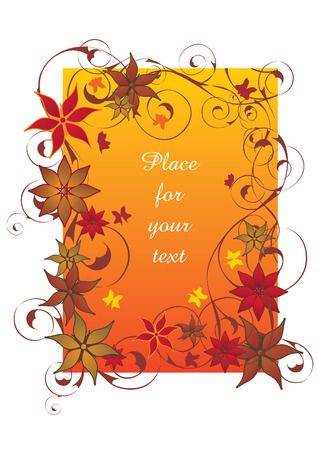 Beautiful red autumn floral frame vector illustration Vector